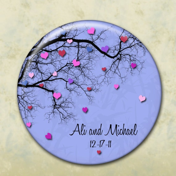 Wedding Favors,  Bridesmaids Gifts - Set of 10 Personalized Pocket Mirrors , Magnets, Pins, or Bottle openers - Tree of Hearts