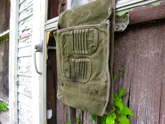 Upcycled Vintage Military Messenger Bag with vintage lace & buttons