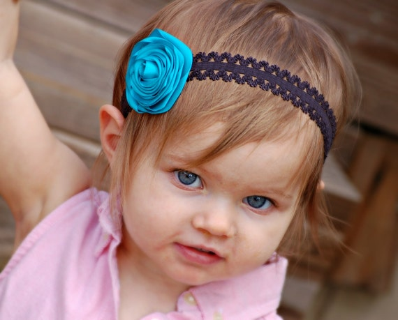 Flower headband for girls - lace, turquoise and black