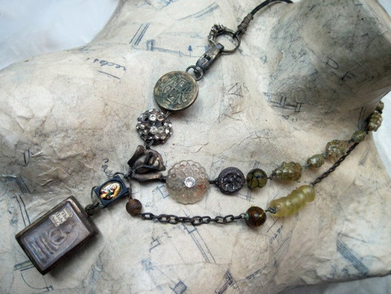 Seek the Holy Guide. Gypsy Tribal Buddhist Reliquary Assemblage Necklace.