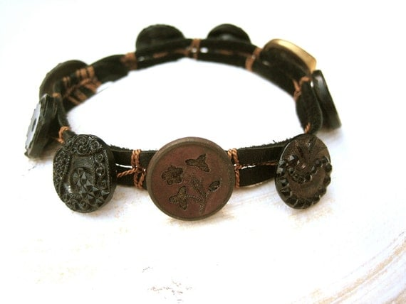 Victorian Black and Gold Button Bracelet - hand knotted silk, deerskin leather