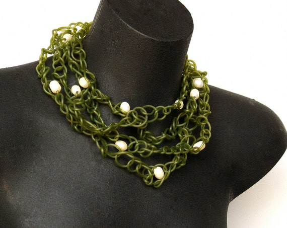 rubber and pearl necklace, rubber jewelry,  statement jewelry, modern jewelry,  wearable art, green rubber, avant garde