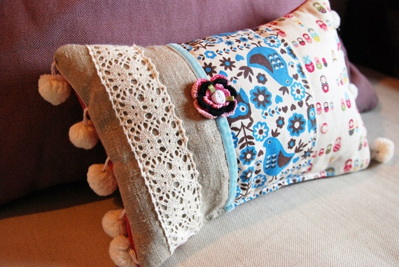 Scented Pillow in Scandinavian Style Folk Art Fabric.