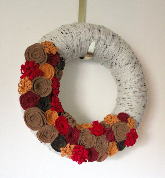 Autumn Wreath, 12 inch Size - Apple Cider Colors