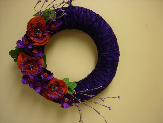 Autumn fall  wreath, velvet yarn wreath with fabric flowers...