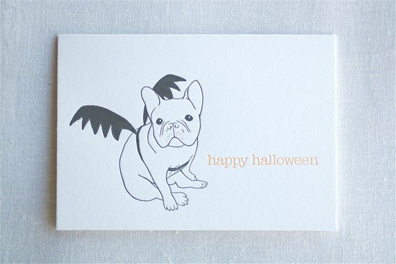 Halloween French Bulldog - Boxed Letterpress Cards