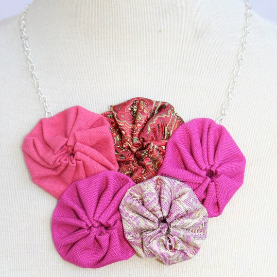 pink vintage fabric yo yo rosette flower necklace with sliver chain