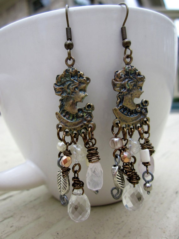 Brass Cameo earrings, Pink Assemblage Wire wrapped Vintaj wire - Teatime with Lady