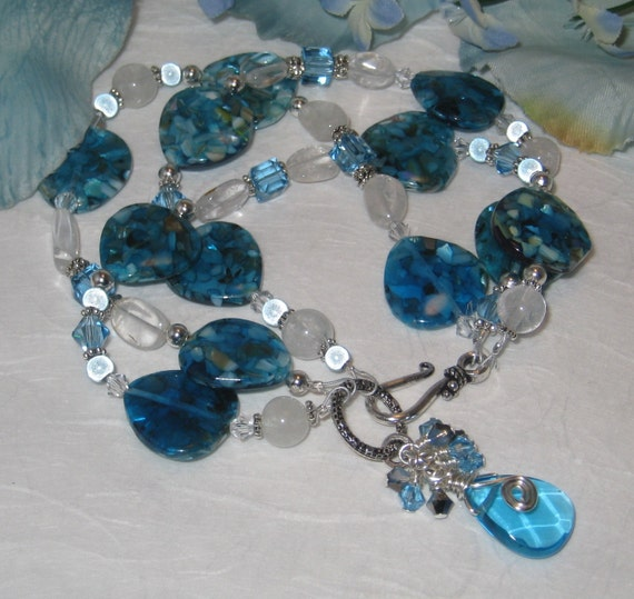 Three Strand Mother of Pearl Aquamarine Bracelet