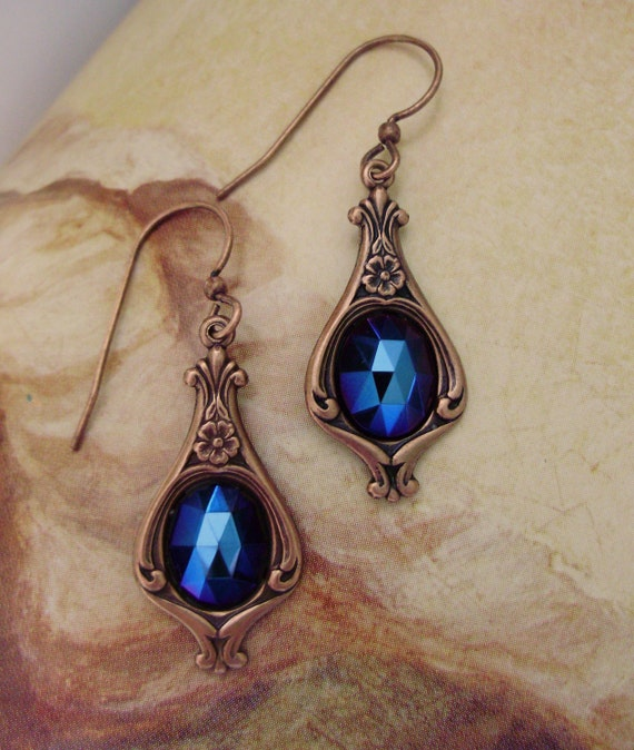 Baroque Renaissance Victorian blue crystal dangle copper earrings gift