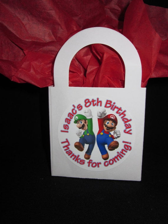 Super Mario Bros inspired Birthday party Favor Boxes personalized