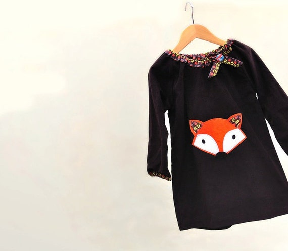 GIRLS FOX DRESS chocolate corduroy -sizes 6m,12m,18m,2t,3t,4t,5t,6t etsymom