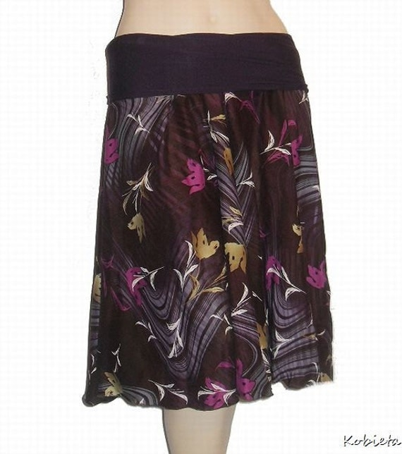 CYBER MONDAY FFS!!Kobieta Womens 1/2 Circle Skirt in Purple/Eggplant Rayon-Yoga Waist-Size XXS-Med