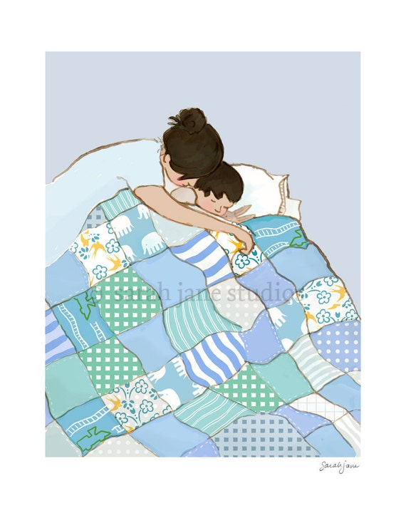 Children's Wall Art Print - Snuggle Me - 8x10 - Kids Nursery Room Decor