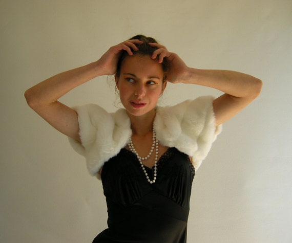 Plush White Faux Fur Bolero Shrug Capelet Vintage by empressjade from etsy.com