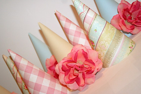 Shabby Chic Birthday, Tea Party Birthday Hats 8 Party Hats