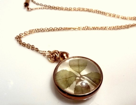 Real Clover Vintage Lucite Pocket Watch Shaped Necklace