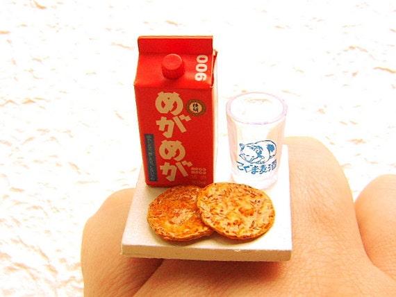 Kawaii Симпатичные японские закуски Саке кольцо Senbei