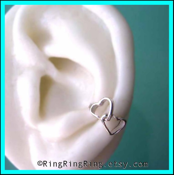 925 Solid sterling silver ear cuff earring jewelry, Double love heart, LEFT earcuff ,Birthday gift, sister, mother, girlfriend, girl friend