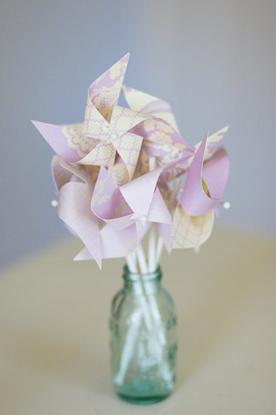 Wedding Favor Pinwheels- Set of 12 Twirlable Mini Cupcake Topper Paper Pinwheels - 'Creamy Lavender'