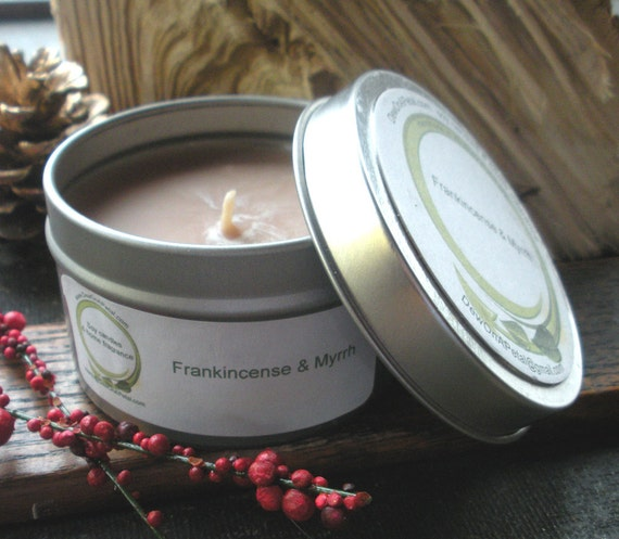 Soy Candle Frankincense and Myrrh , travel tin