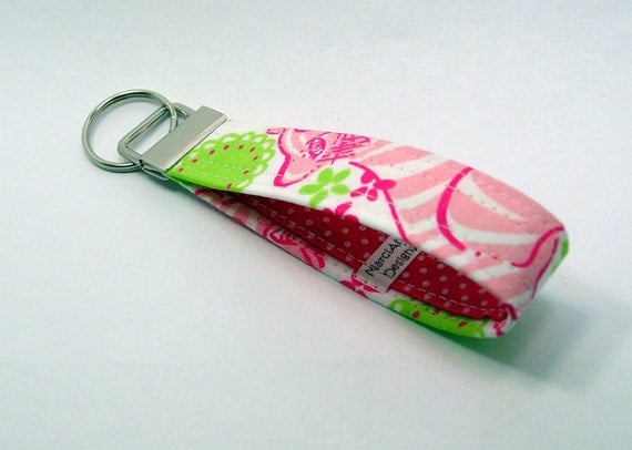 "Fabric Key Fob Key Chain - Lilly Pulitzer's ""Black Jack"""