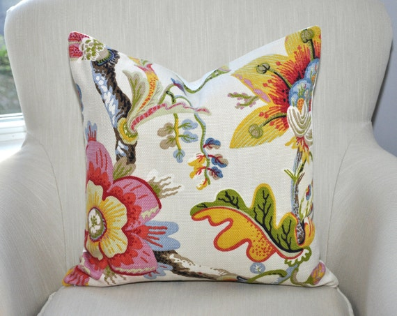 Custom Braemore Wonderland Floral Pillow Cover -- 18x18 -- Pink/Red/Yellow/Green -- Zipper Closure