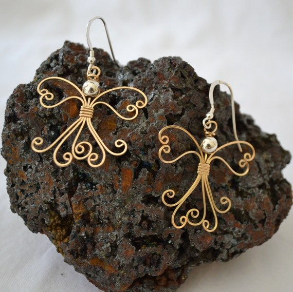 Wire wrapped Angel earrings. 14K gold filled handmade.