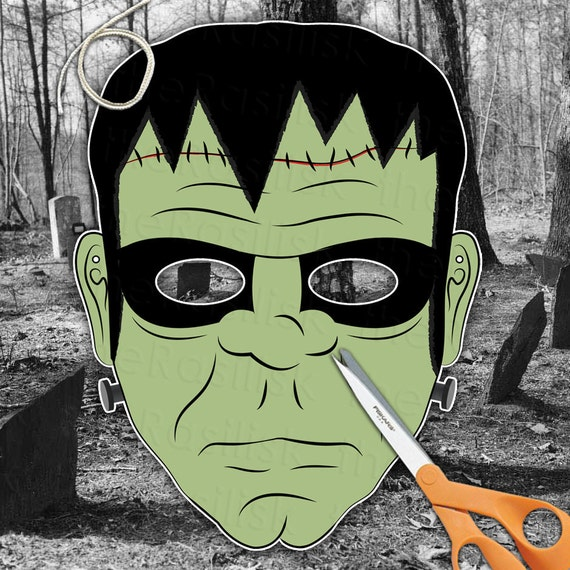 Frankenstein Halloween Mask  Printable PDF by theRasilisk on Etsy from etsy.com