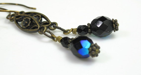 Vintage Style Earrings, Vintage Style Jewelry, Blue, Czech Glass, Antiqued Brass