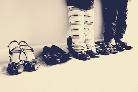 A Day in Mom's Shoes - 20x30 Fine Art Photography Print - Black and White Kids Children Nursery Home Decor Photo