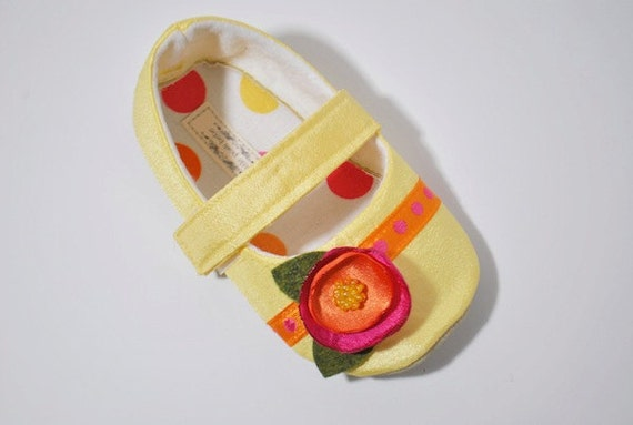 Handmade Baby Toddler Shoes Lelani Pastel Yellow Mary Janes with Hot Pink Orange Poppy Flower