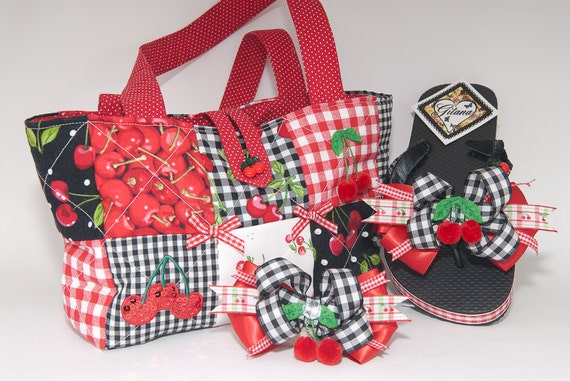 Cherry Quilted purse Set