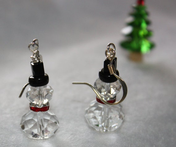 Let It Snow Crystal Snowman with Siam Swarovski Rondelle and Top Hat earrings Free USA Shipping