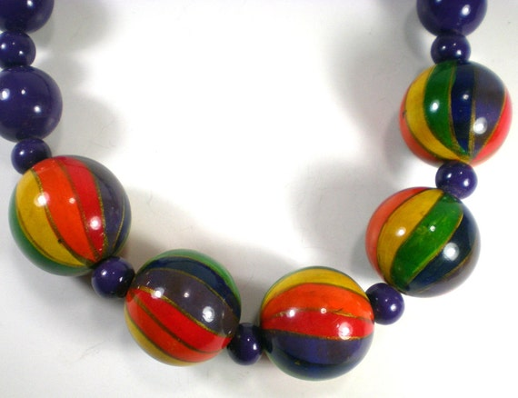 Vintage Colorful Rainbow Bubble Lucite Necklace by paleorama from etsy.com