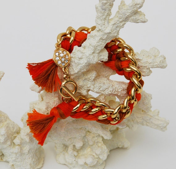 Orange Woven Friendship Bracelet with Pave Detail
