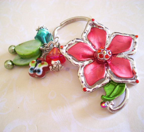Key Chain with Pink Flower, and Green, Red, Blue, and Butterfly Bead Charms