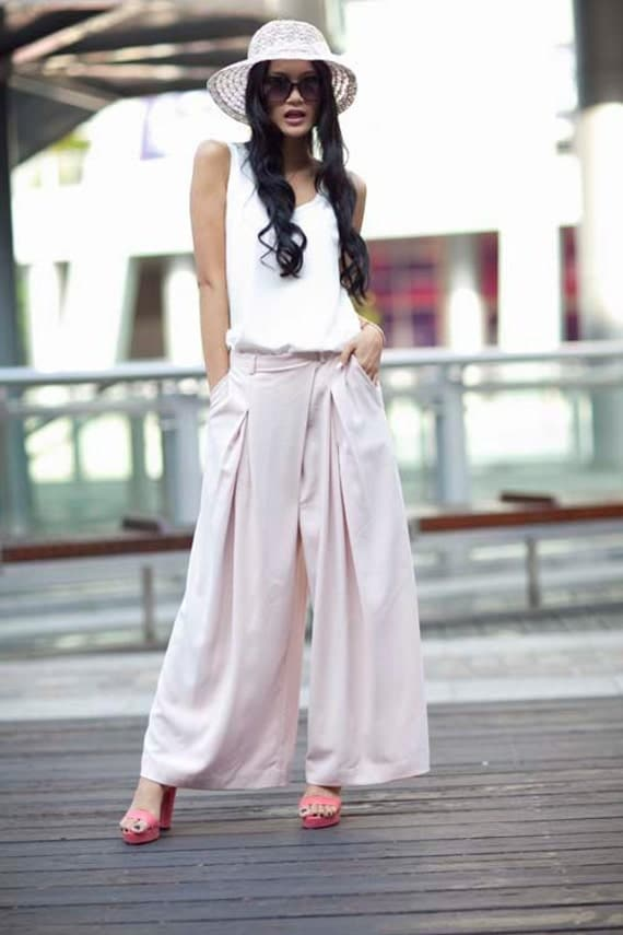 Hot Pink High Waist Wide Leg Chiffon Pants Skirt- NC141
