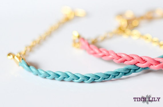 TINNLILY Pair of Leather and Chain Braided Friendship Bracelets