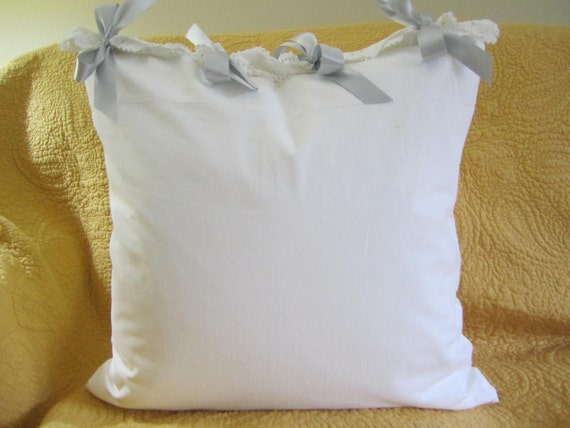 White Pillow Cover made from Vintage pillowcase Gray Ribbon closure 20 x 20