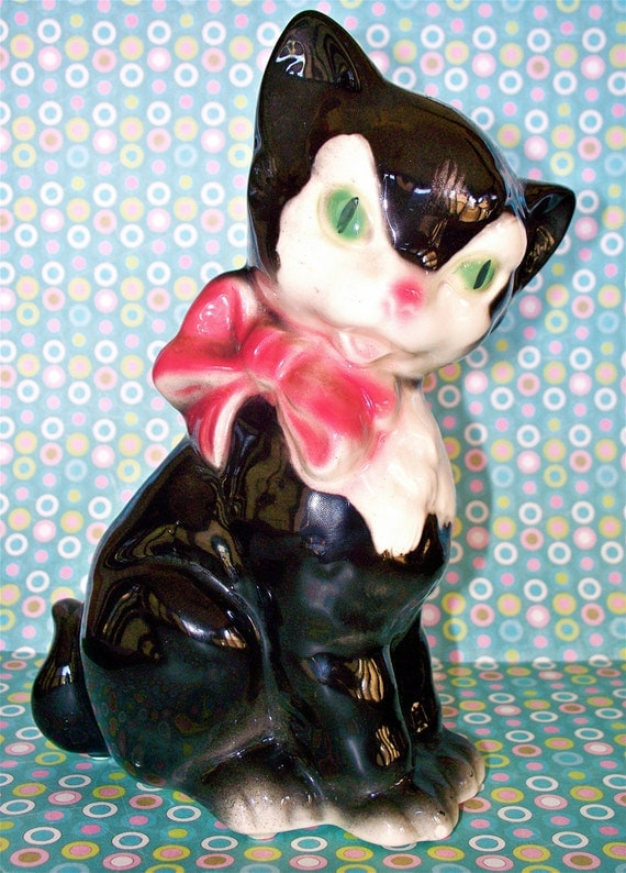 Lovely  Vintage Kitsch Royal Copley Black Cat Figurine Planter