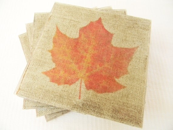 Thanksgiving Coaster Gift Set - Maple Leaves