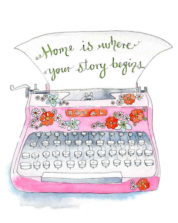 "Typography Illustration Art Print Pink Typewriter "" Home"" Poster 8"" x 10"" Vintage Style"