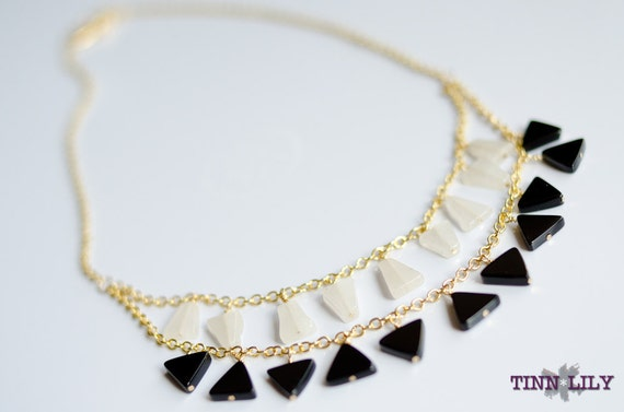 TINNLILY Quartz and Onyx Layered Necklace