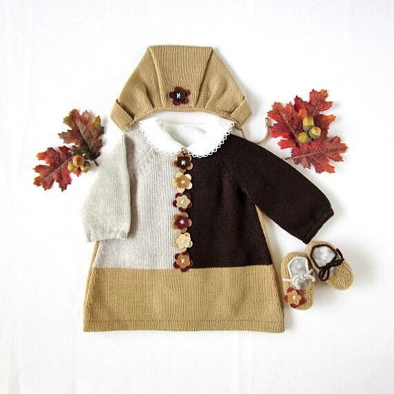 بافتنی نوزاد لباس مجموعه ای با گل های احساس