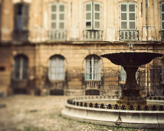 SALE - Provence Photo,  Aix-en-Provence Fountain, South of France, Travel Photography, Town Square - La Fontaine