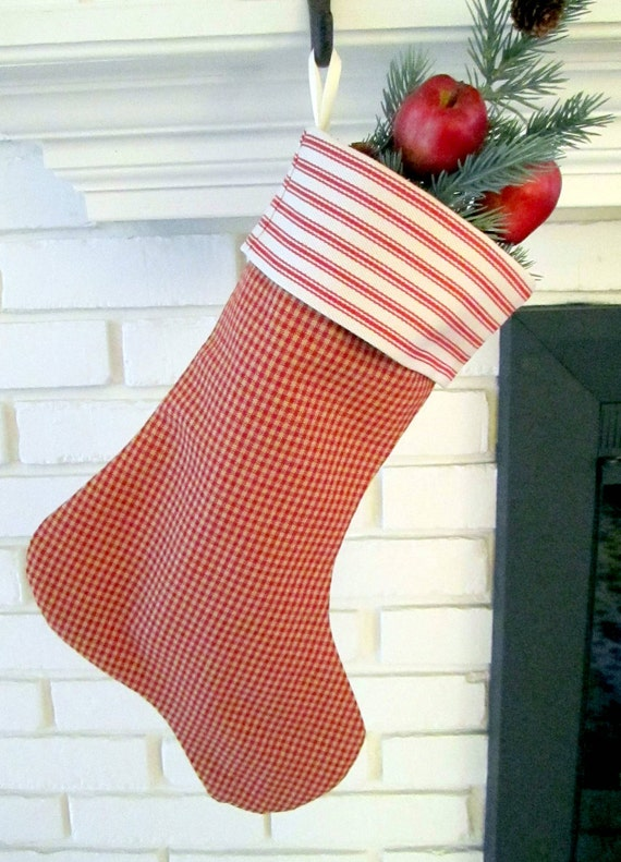 Red Homespun and Red Ticking Christmas Stocking Cuffed Ribbon Hanger Lined 16 in. long