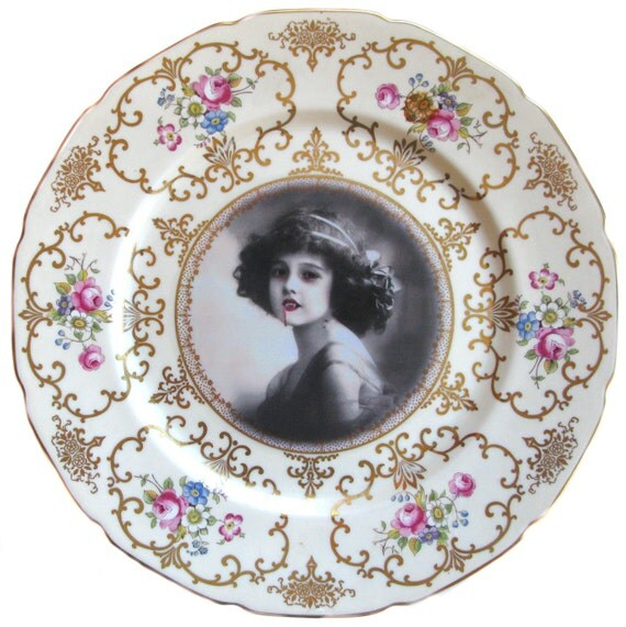 Lilith the Vampire Girl Portrait - Altered Vintage Plate