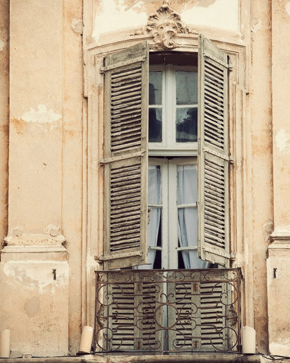 French Window, South of France, Travel Photography, Pale Peach, Shabby Chic, Home Decor - La Bohème