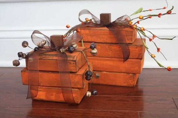 Wooden Pumpkins - Set of 2
